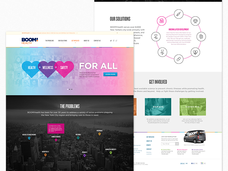 BOOM!Health Website website heart colorful header map marker icons landing health