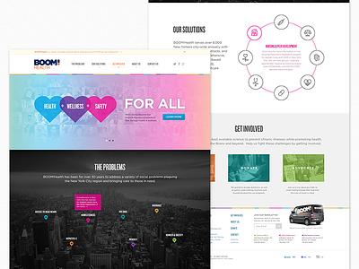 BOOM!Health Website website heart colorful header map marker icons landing health