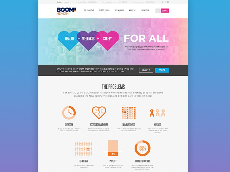 BOOM!Health Home Page v2 website infographics heart health landing donate collage landing page colorful rainbow