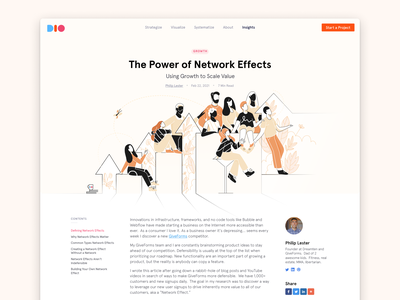 The Power of Network Effects growth agency website table of contents business network blog post blog design blog ux ui design illustration website
