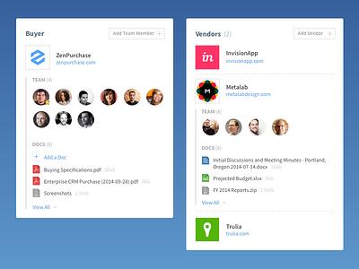 Buyer/Vendor Widgets sorting expand files profile vendor buyer ux app widget