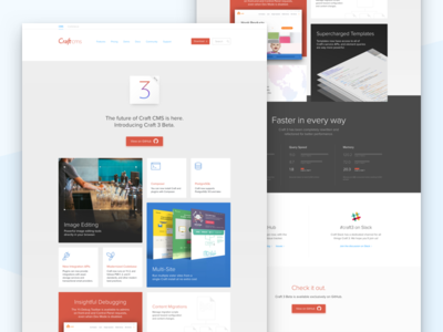 Craft 3 Beta icons craft cms features web design website landing page craft