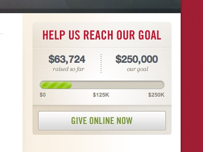 Help Us Reach Our Goal donate give widget button progress css3