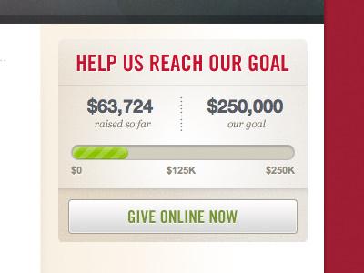 Help Us Reach Our Goal donate give widget button progress css3