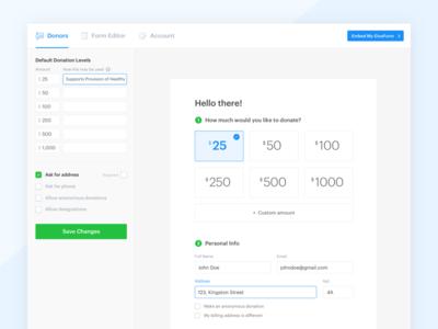 Donor Admin menu nav ux ui product form amounts donation