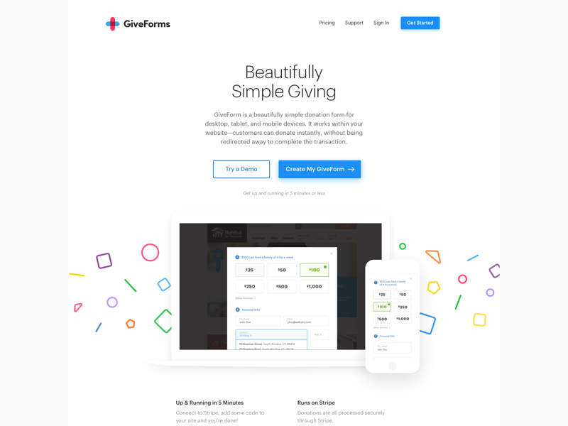 GiveForms ux ui web responsive landing home page website giveforms