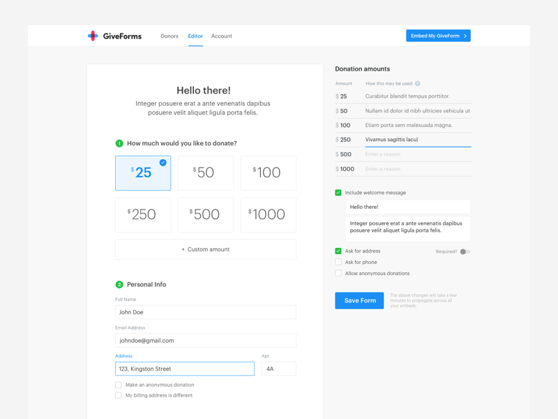 GiveForms Form Editor dashboard donations giveforms website home page landing responsive web ui ux