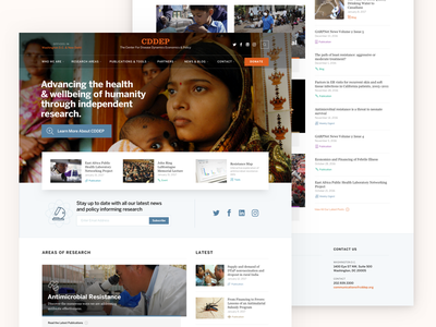 CDDEP Homepage responsive landing website home page disease cddep