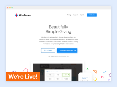 GiveForms giving non profit form donation donate ux ui web responsive landing home page website