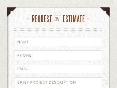 Estimate Request Form | Request Estimate By Philip Lester Dribbble