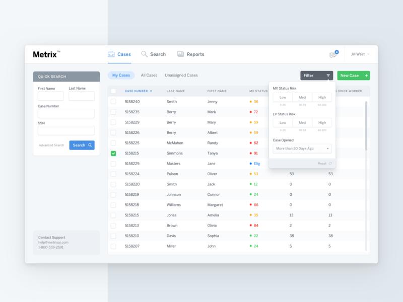 Metrix tabs table reports cases filter search nav popover app web app icons menu ux ui