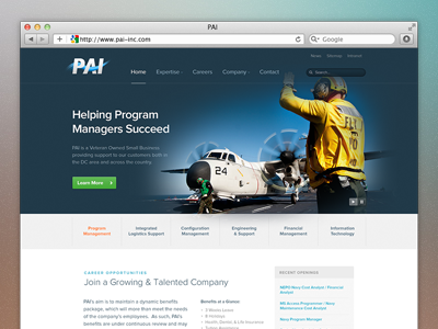 PAI Homepage home page defense military contractor corporate website ui landing page slideshow map ux search menu nab blue airplane