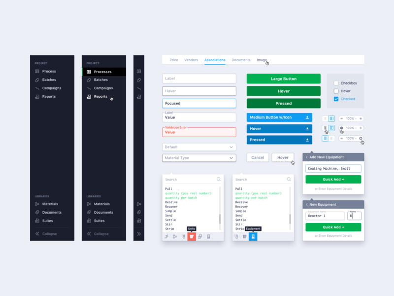 UI Components web app icons hover design systems design system buttons popup popover form fields form field input box inputs menu nav navigation form ui kits ui kit ui