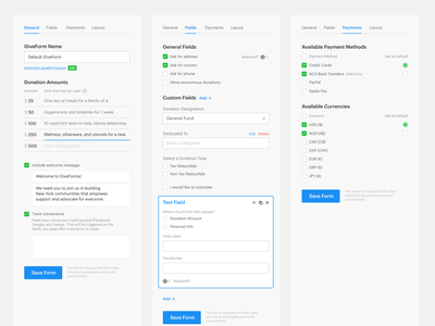 Updated GiveForms Sidebar form editor text field toggles toggle toggle switch radio buttons radio button sidebar menu sidebar form field form fields tabs form checkbox web app button icons menu ux ui