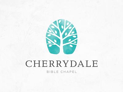 Cherrydale logo tree vector serif sans serif leaves teal organic natural leaf