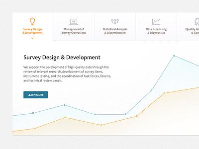 Survey Design & Development graph tabs vector icons button line graph data website services ui ux arrow chart gradient blue orange survey