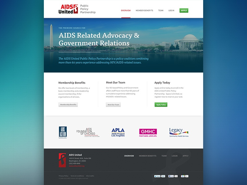 AIDS United Landing Page landing page website washington dc dc responsive aids red blue tisa source sans home home page capitol monument photo ui ux design typography