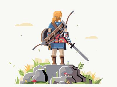 Link from The Legend of Zelda flat design ui illustration