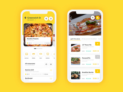 Food Delivery APP icon mobile screen interface illustration flat app ux dailyui ui design