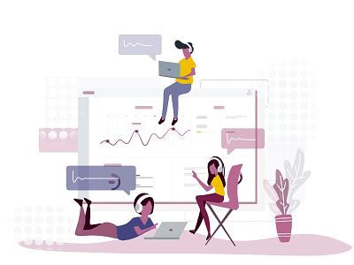 Productive Meetings - voice notification web  design vector screen interface illustration ui design