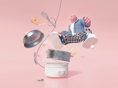 Mess in the Kitchen explosion fabric marvelous designer pot steamer whisk food kitchen character design mess character c4d cinema 4d