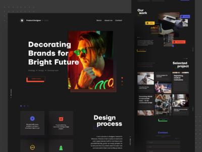 Product Designer 🔥 creative typography black dark color section design product productdesign landing page clean ui clean brand identity website ui minimal flat branding
