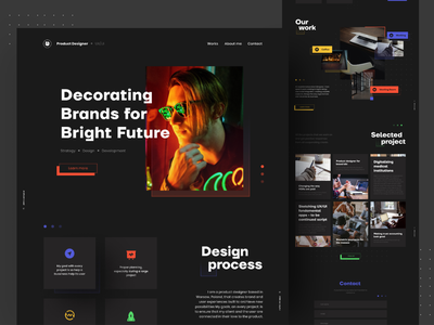 Product Designer 🔥 creative typography black dark color section design product productdesign landing page clean ui clean brand identity website ui minimal flat branding