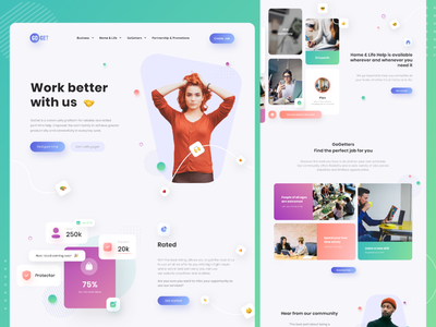 Work better with us 🤝 ux uiux web typhography brand identity minimal branding ui typography photography apps website design colorful color clean