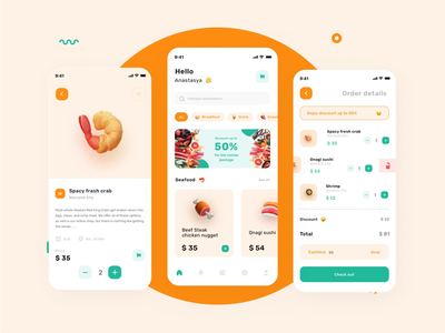 Foody apps delivery food app prototyping prototype animation prototype orange mobile ui mobile design mobile app design mobile app mobile ios app ios food clean app animation
