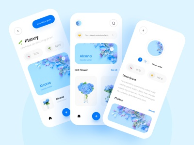 ☘️ Planzy ☘️ whitespace white leaf flowers tree ux mobile application app design icon ui web ios guide mobile app design ui user experience flower plants app app design graphic chart plants blue and white blue