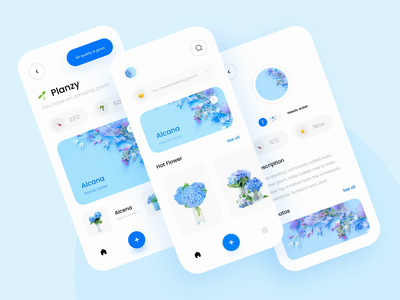 🍃 Interaction Planzy 🍃 ios ux uiux clean blue mobile interaction flower chart ui tree plants leaf flowers light mode animation design white app animation