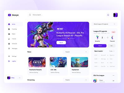 🎮 Hoxye 🎮 uiux ui clean ui stream streaming gaming ipad purple clean games dashboard