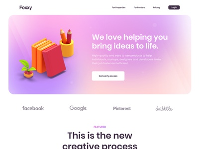📚 Foxxy landing page 📚 simple simplicity clean learning learn gradient homepage 3d landing page landingpage header ui ux web web app web design website hero
