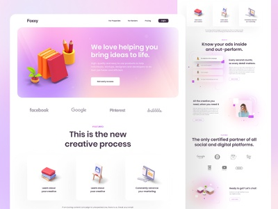 📚 Foxxy landing page 📚 simple simplicity clean learning learn gradient homepage 3d landing page landingpage header ui ux web web app web design website hero