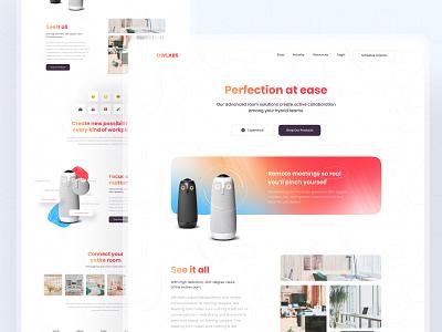 🦉 OwLabs Landing_Page 🦉 meeting room gradient owl web design wireless speakers meeting website clean minimal uiux ui