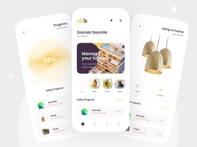 Concept Apps Home management app mobile ui furniture yellow house home manage mobile clean minimal uiux ui