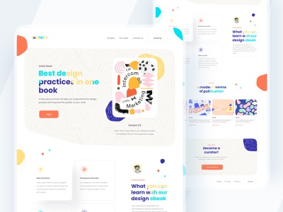Bookly Landing Page typography uiux design clean branding minimal ui ebook website colorful reading book landingpage