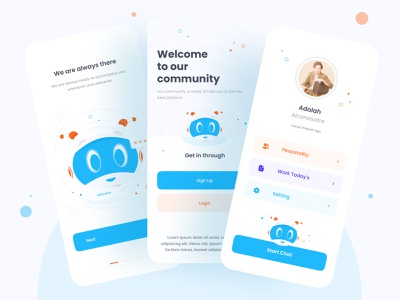 Chat Bot Apps chatting chat app chatbot onboarding bottle message bot chat website design clean branding minimal uiux ui