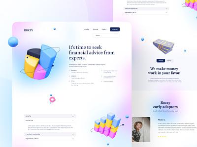 ROCSY FINANCIAL gradient design gradients page financial gradient website design clean branding minimal uiux ui
