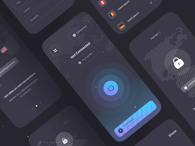 VPNECT - APPS UI KIT vpn app connection privacy proxy design clean uiux minimal ui vpn branding motion graphics graphic design animation