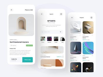 NFTARTS - Apps Concept mobile product graphic design arts nft design clean branding uiux minimal ui