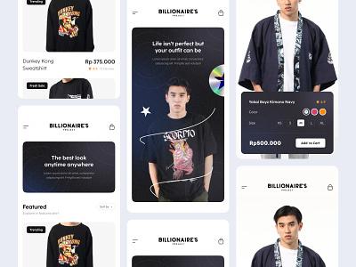 BILLIONAIRES_CLOTHESSHOP web app ecommerce shop clothes clothing mobile design clean branding uiux minimal ui