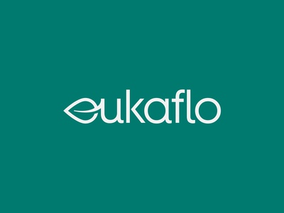 "Eukaflo Wordmark Logo ( Letter ""e"" as leaf )"