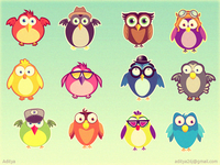 Cute birds ios game characters concept