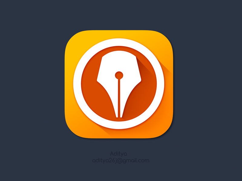 'Digital Signer' ios App icon awesome ink paper beautiful signer sign pen writing flat ios 7 cool