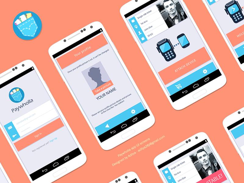 Paywholla app flat UI design design best mobile minimal pay app ui flat profile log interface inspirational