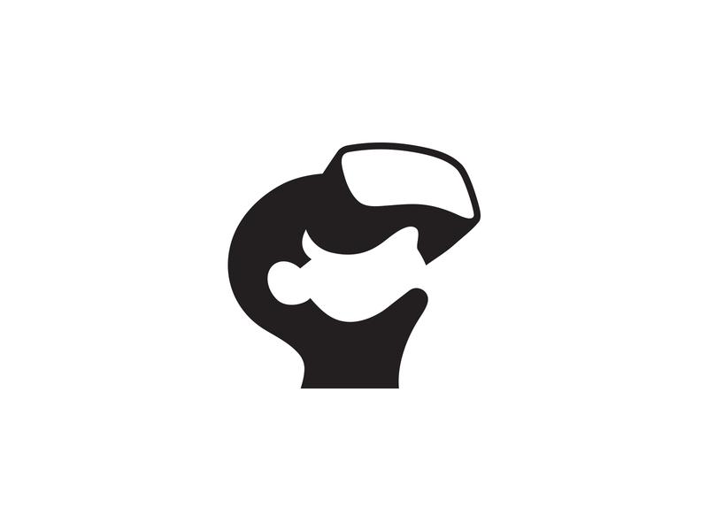 Virtual Reality Logo / VR logo clever smart futuristic logomark technology game identity head tech human face marks negative space ai portfolio logo designer best branding brand logo augmented