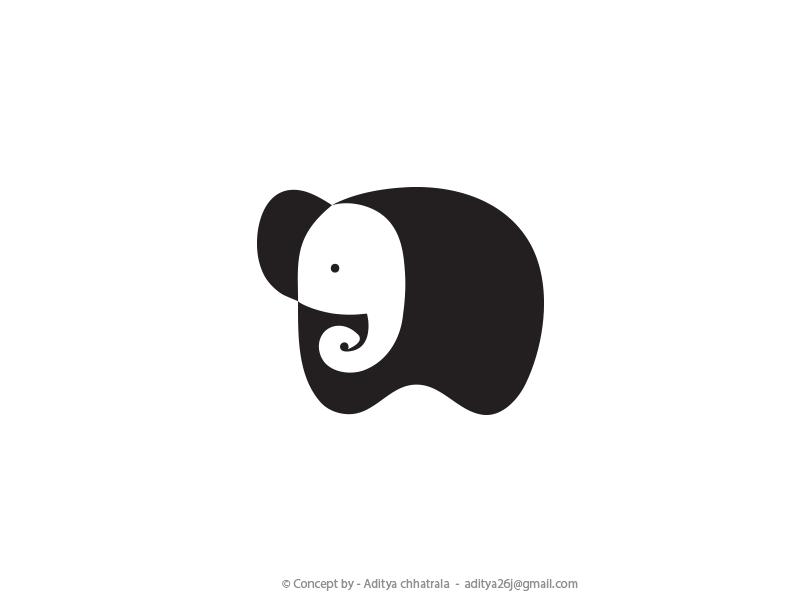 78723f62e Baby Elephant - Negative Space Logo elephant space logo icon inspirational  design graphics symbol minimal best