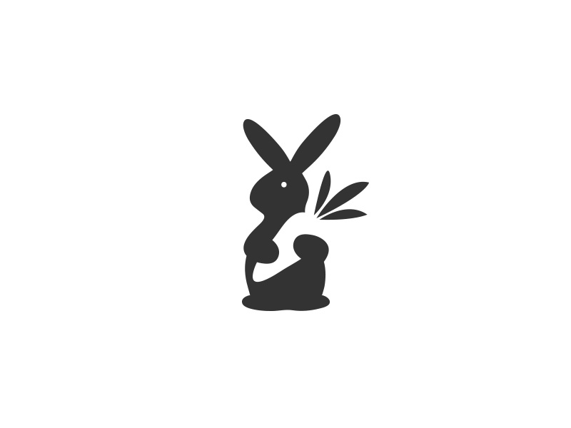 Rabbit Loves Carrot - Logo / mark beautiful great superb wonderful fabulous vintage inpiration inspirational rabbit animal modern fantastic awesome creative logos logo icon brand best idea clever love logotype black white creative carrot illustration minimal flat negative space
