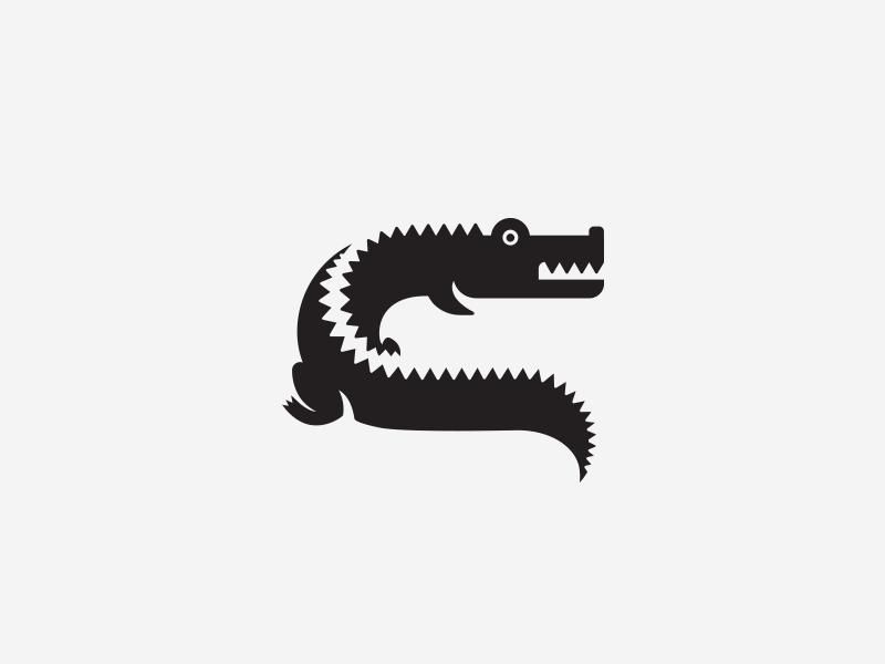 C for Crocodile typography logotype animal crocodile illustration monogram symbol mark identity branding idea icon logo